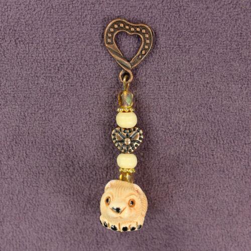 3D HAMSTER TOTEM CHARM Amulet Talisman Animal Magick Pet Heart Ceramic Clay Bead