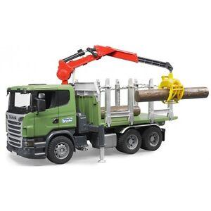 Camion de transport en bois Brother Scania série R avec grue de chargement et 3 troncs d'arbres