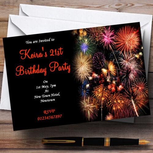 Orange Fireworks Personalised Party Invitations