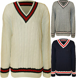 New-Womens-Plus-Cable-Knitted-Cricket-Stripe-Ladies-Long-Sleeve-V-Neck-Jumper