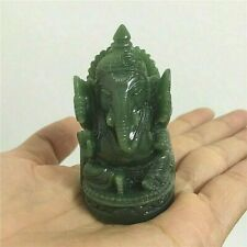 "GANESHA STATUE 2.4"" Small Green Stone Hindu Elephant God Lord India Figurine NEW"
