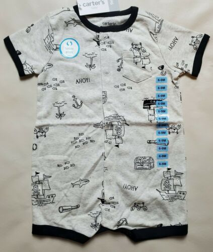 Neuf avec étiquettes CARTER/'S BABY BOY crabe gris pirate Snap-up Ange taille 3 6 9 12 18 24 mois