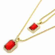 "14k Gold Plated Iced Mini Red Stone CZ Pendant Set w/ 2mm 24"" & 30' Rope Chains"