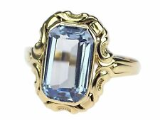 Art Deco Damen 8 K 333 Gelb Gold Blautopas nach Venezuil Solitär Ring