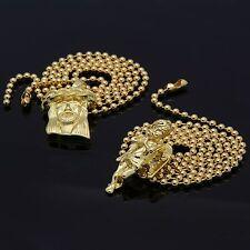 Mens Gold Plated Jesus Angel Piece Combo Set Plain Pendant Chain Necklace