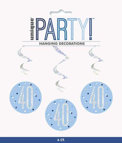 6 X 40 años Colgante Remolinos Azul Plata Glitz para hombre 40th Cumpleaños Fiesta Decoración