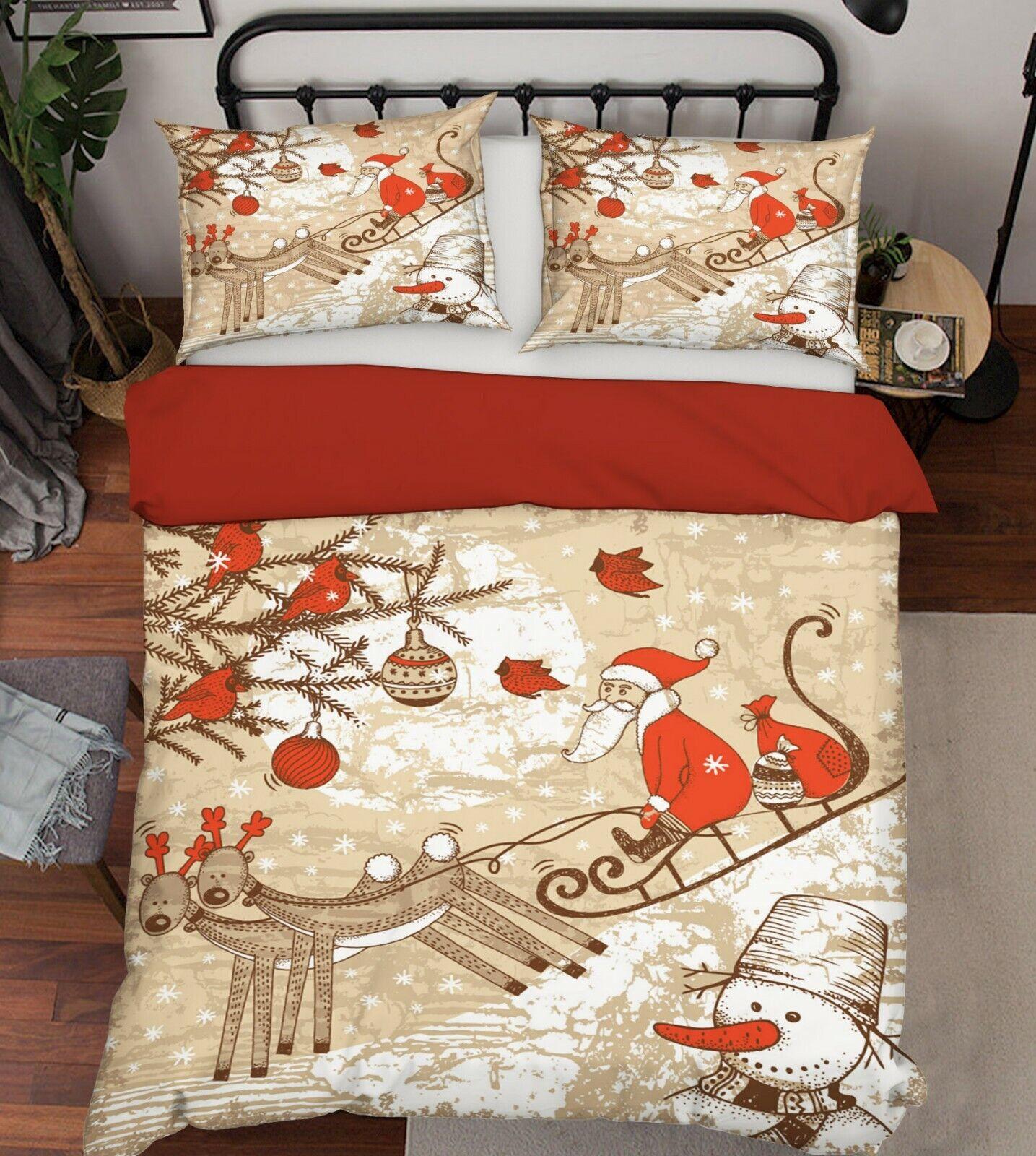 3D Reindeer Sleigh Santa G144 Christmas Bed Pillowcases Duvet Cover Quilt Amy