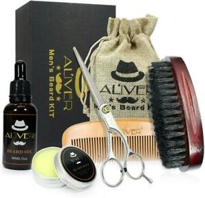Men Beard Care Travel Bag Brush Scissor Balm Oil Comb Grooming Gift Kit