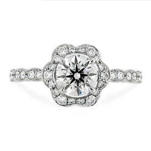 1.60 Ct Round Real Moissanite Engagement Ring 18K Solid White Gold ring Size 6 7