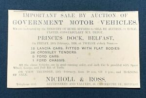 1926 Newspaper Clipping SALE OF ROYAL ULSTER CONSTABULARY VEHICLES, BELFAST, rf1