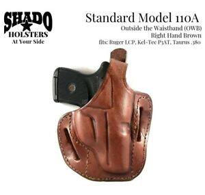 SHADO-Leather-Holster-Model-110A-RH-Brown-OWB-fits-Ruger-LCP-Kel-Tec-P3AT