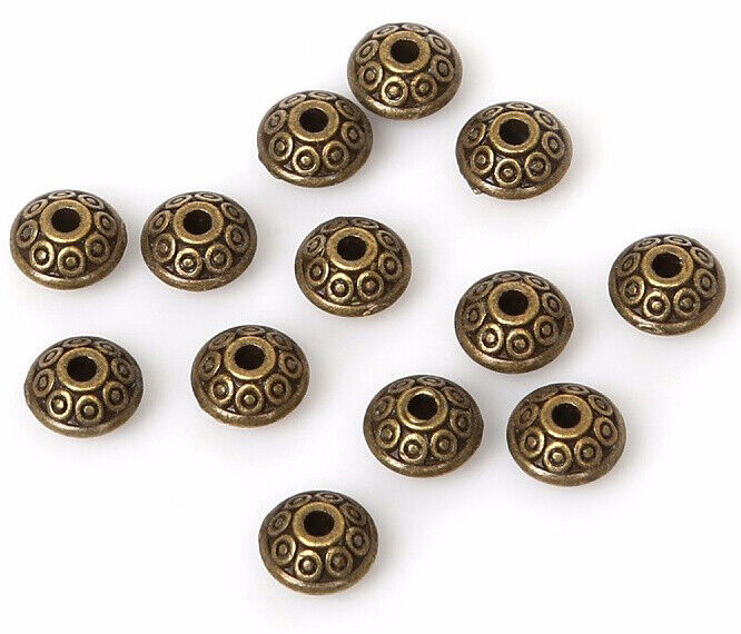 100Pcs Dia.6mm Tibetan Round Oval Spacer Metal Rondelle Beads For Jewelry Making