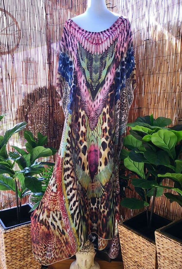 Plus Size Mix Maxi Very Long Sheer Embellished Embellished Embellished Kaftan Size 16-18-20 OSFA d43590