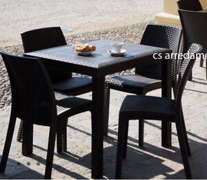 Tavoli E Sedie Da Esterno Per Ristoranti.Dettagli Su Tavolo 4 Sedie Da Esterno Giardino Poli Rattan Bar Ristoranti Da Pranzo Resina