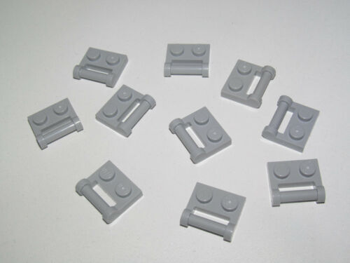Lego ® Lot x10 Plaques Poignée 1x2 Plate with Shaft Med Stone Grey 48336 NEW