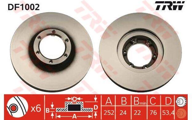 TRW Juego de 2 discos freno 252mm ventilado RENAULT TRAFIC OPEL VAUXHALL DF1002