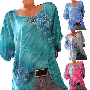Plus-Size-Womens-Loose-Casual-Short-Sleeve-Summer-T-Shirt-Tops-Blouse-Boho-Tank
