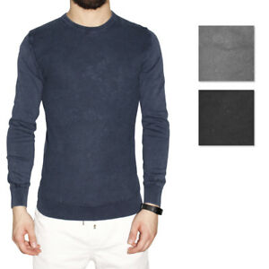 Maglia-Uomo-Maglioncino-Leggero-Manica-Lunga-Pullover-Girocollo-Cotone-Nero-Blu