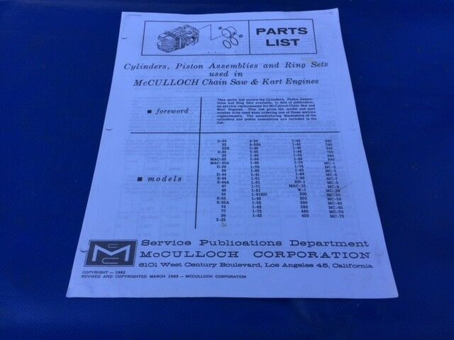 1963 McCulloch Go Kart Saw Piston-cylinder Parts Manual With Cross Reference