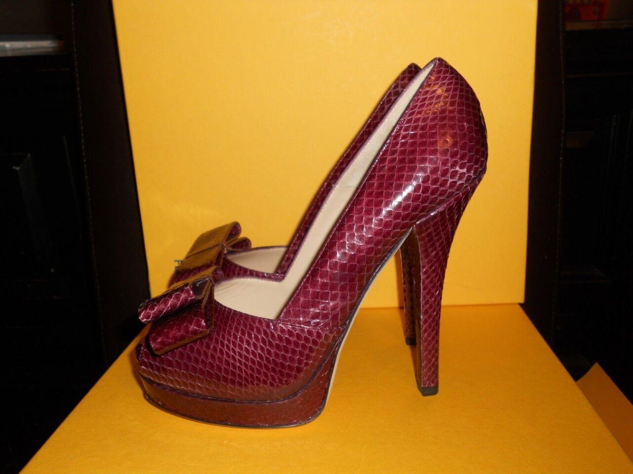 Fendi Piel De De De Serpiente Doble Plataforma Arco Belle Peep Toe Zapatos de salón Burdeos 38.5 UE  compras de moda online