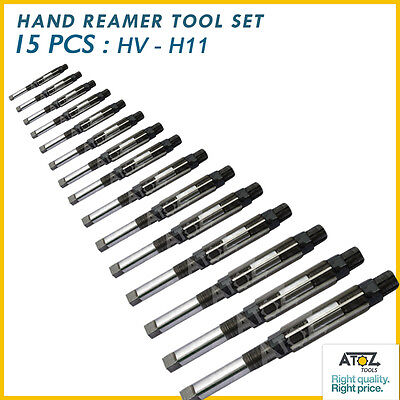 """15 Pcs Adjustable Hand Reamer Set HV to H-11 Sizes 1//4 /"""" to 1.1//16 /"""" Inches"""