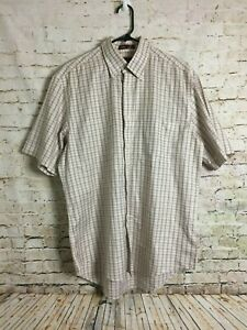 Nordstrom-M-Mens-Shirt-Cotton-Smart-Care-Checkered-Beige-Short-Sleeve-Button-Up