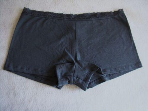 New VICTORIA/'S SECRET Gray Lace Trim Cotton Boyshort Panties