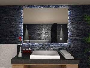 Details zu Badspiegel TOKIO mit INDIREKTER LED Beleuchtung  Badezimmerspiegel Bad Spiegel