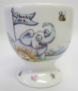 New-Noah-039-s-Ark-Ceramic-Egg-Cup-Saucer-amp-Spoon-Set-Baby-Keepsake-in-a-Gift-Box