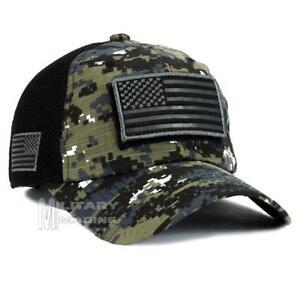 Image is loading USA-American-Flag-Hat-Black-Digital-Detachable-Patch- 4bf62266e92