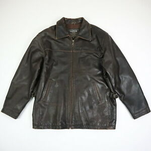 Oakwood-Classic-Quilted-Lined-Heavyweight-Leather-Jacket-Brown-Mens-LARGE