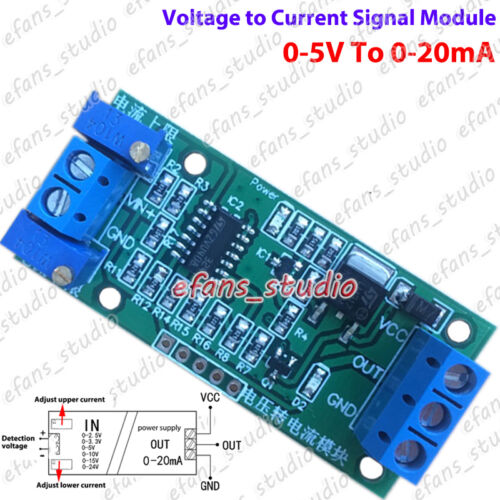 Voltage to Current 0-20mA Signal Linear Transmitter Module Isolated Converter