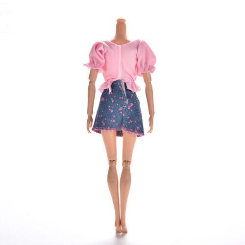 2 x//Set Pink T Shirt and Blue Denim Skirt for s Princess Dolls BSCA