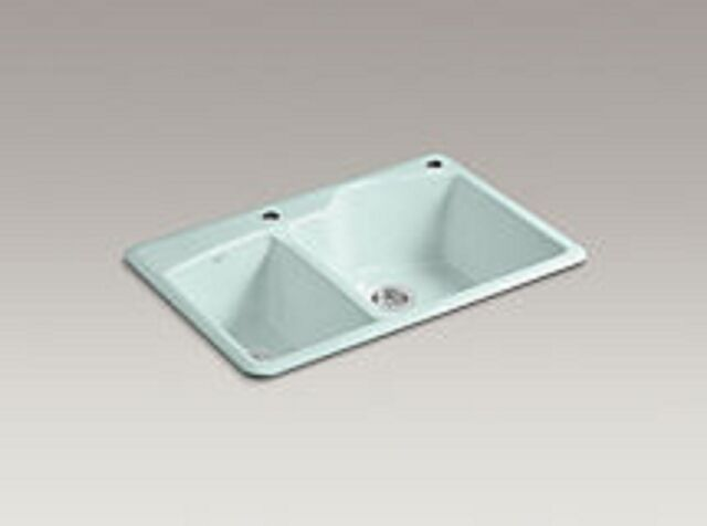 KOHLER Wheatland Top Mount K5870-2-FE Frost Enameled Cast Iron Kitchen Sink  $654
