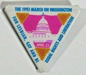 1993-Marzo-Encendido-Washington-Dc-Lesbica-Bi-Gay-Derechos-Lgbtq-Pride-Pin-Boton