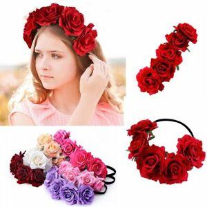 Krone Rose Blume Stirnband Hairband Hochzeit Haar Girlande Kopfschmuck