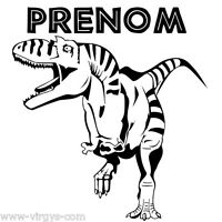 Sticker Dinosaure T-rex 25x27cm À 35x37cm + Prénom Au Choix (dino008)