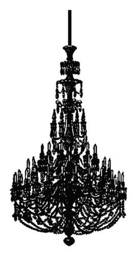Chandelier Silhouette Handmade Counted Cross-Stitch Pattern Needlepoint