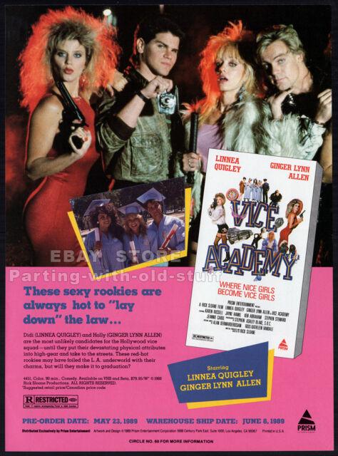 VICE ACADEMY__Original 1989 Trade print AD / promo__GINGER LYNN__LINNEA QUIGLEY