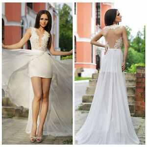 Details About Sexy Short Wedding Dresses See Through Lace Beach Bridal Gowns Detachable Skirt