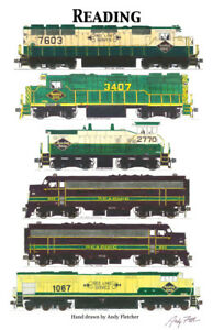 Reading-Lines-Locomotives-11-034-x17-034-Railroad-Poster-by-Andy-Fletcher-signed