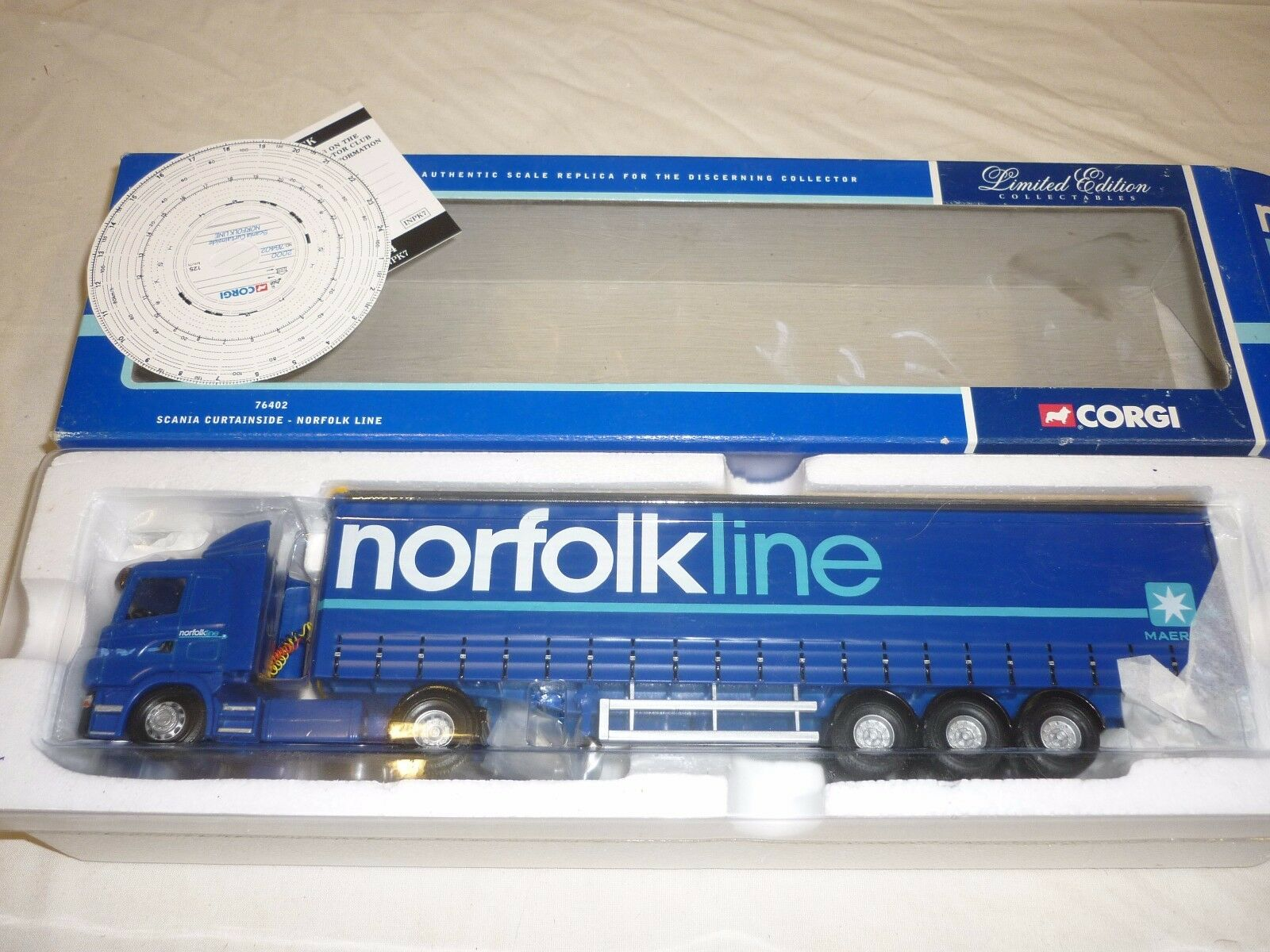 A Corgi cc 76402 Scania curtain side Norfolk line  boxed