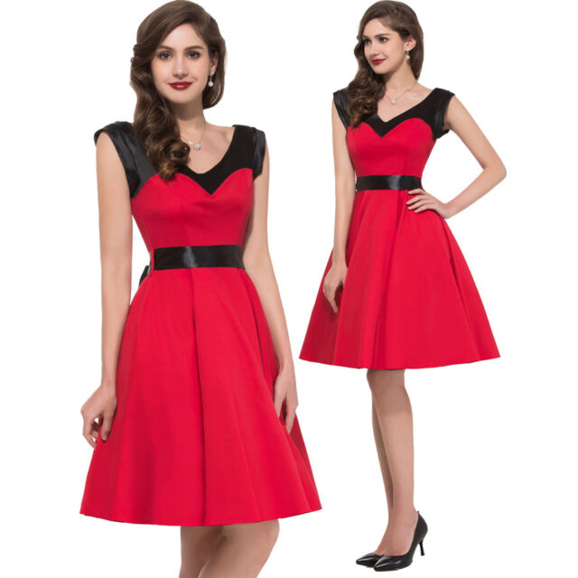 2016 Womens Vintage Style Party 50s Housewife Retro Swing Evening Cocktail Dress