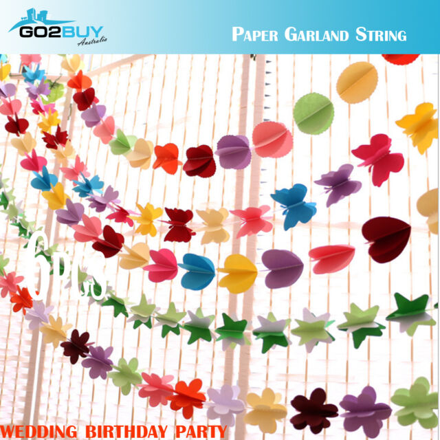 Colorful Paper Garland Heart String Wedding Birthday Party Hanging Decoration