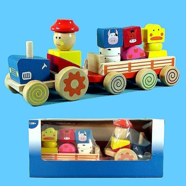 4 Tieren Holz-Traktor mit Anhänger u
