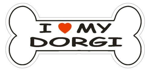 Love My Dorgi Bumper Sticker or Helmet Sticker D2450 Dog Bone Pet Lover