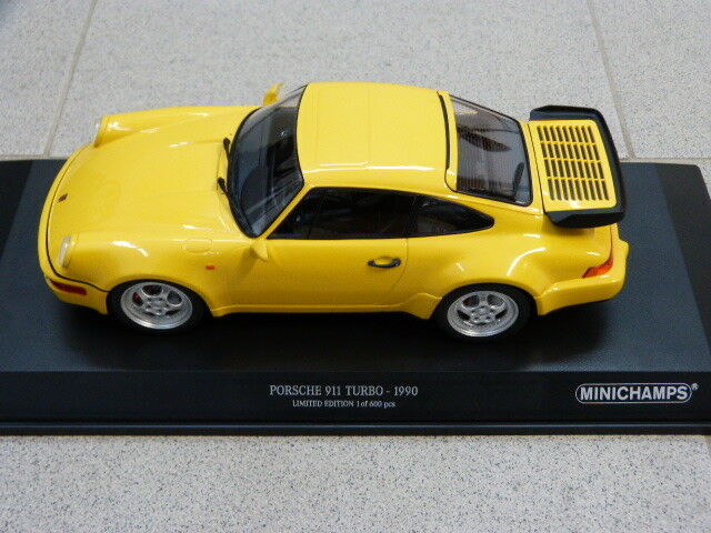 Porsche 911 964 turbo 3,6 amarillo 1990 limitado 600 St. Minichamps maqueta de coche 1 18