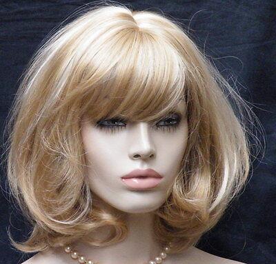 Perücke blond gesträhnt wie Echthaar Wig mittelblond schulterlang goldblond