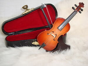 """CELLO Miniature Only 4"""" Long W/ Case & Stand Wood Great MUSIC Gift NIB Cute!"""