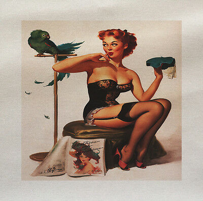 Pinup girl catapult Printed On Fabric Panel Make A Cushion Upholstery Craft